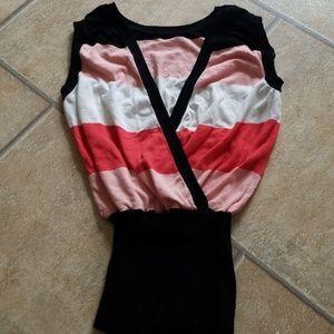 BEBE striped sweater vest LG with rhinestone